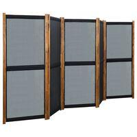 vidaXL 5-Panel Room Divider Black 350x170 cm