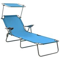 vidaXL Sun Lounger with Canopy Steel Blue