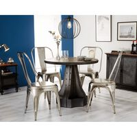Urban Industrial Round Dining Table with Metal Silver Chairs Brown