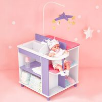 White Doll Changing Bed Storage by Olivia's World Wooden Furniture Toy