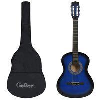 """vidaXL 8 Piece Classical Guitar Kid Beginner Set Blue 3/4 36"""""""