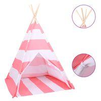 vidaXL Children Teepee Tent with Bag Peach Skin Stripe 120x120x150 cm
