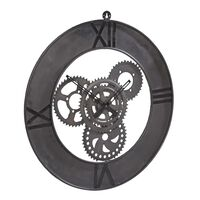 Large Industrial Style Clock Factory Metal Grey 60x5x80cm (HxDxW)