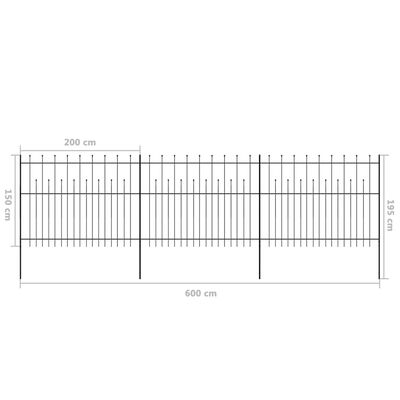 vidaXL Security Palisade Fence with Pointed Top Steel 600x150 cm Black