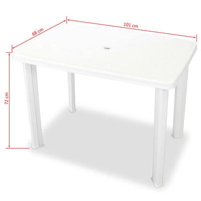 vidaXL Garden Table White 101x68x72 cm Plastic