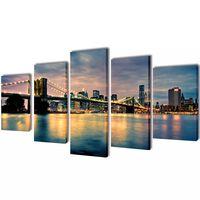 Canvas Wall Print Set Brooklyn Bridge River View 200 x 100 cm
