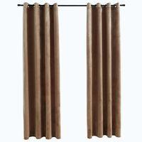vidaXL Blackout Curtains with Rings 2 pcs Velvet Beige 140x245 cm