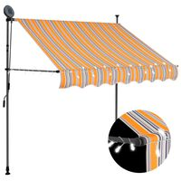 vidaXL Manual Retractable Awning with LED 200 cm Yellow and Blue