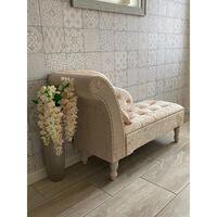 Ivory Cream Crushed Velvet Upholstered Chaise Longue Sofa Bench