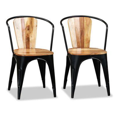 vidaXL Dining Chairs 2 pcs Solid Acacia Wood