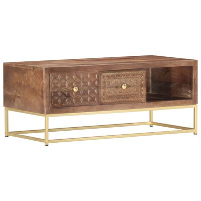 This industrial-style wooden coffee table exudes a vintage charm and will make a timeless addition to your home interior.