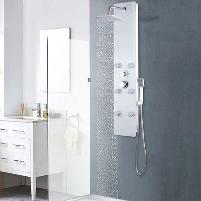 vidaXL Shower Panel Unit Glass 25x44.6x130 cm White