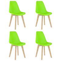 vidaXL Dining Chairs 4 pcs Green Plastic