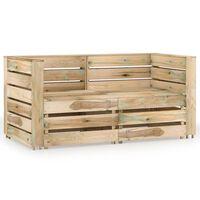 vidaXL 2-Seater Garden Sofa Green Impregnated Pinewood