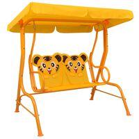 vidaXL Kids Swing Bench Yellow 115x75x110 cm Fabric