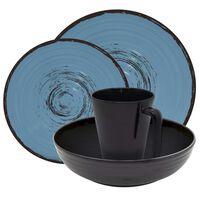 Eurotrail Tableware Bahia16 pcs Melamine Black and Blue