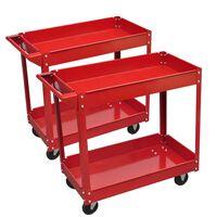 2 x Workshop Tool Trolley 100 kg 2 Shelves