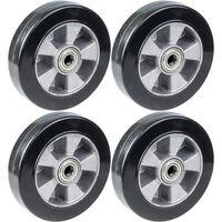 "200mm 8"" wheel black rubber with aluminium centre 1800kg capacity, set"