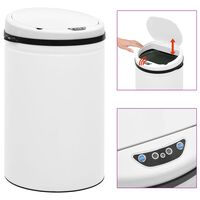 vidaXL Automatic Sensor Dustbin 30 L Carbon Steel White