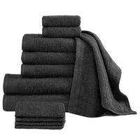 vidaXL 12 Piece Towel Set Cotton 450 gsm Black
