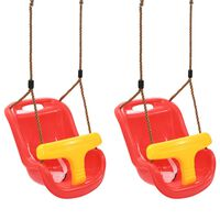 vidaXL Baby Swings 2 pcs with Safety Belt PP Red