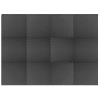 vidaXL Floor Mats 12 pcs 4.32 ㎡ EVA Foam Black