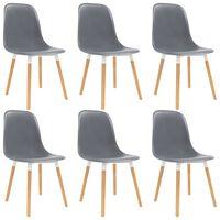 vidaXL Dining Chairs 6 pcs Grey Plastic