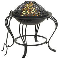 vidaXL Fire Pit with Poker 49 cm Steel