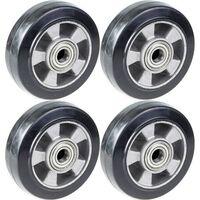 "152mm 6"" wheel black rubber with aluminium centre 1320kg capacity, set"