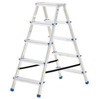 vidaXL Aluminium Double-Sided Step Ladder 5 Steps 113 cm