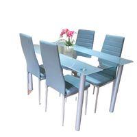Kosy Koala Grey Glass Dining Table And 4 Grey Chairs 120x70x75 Cm