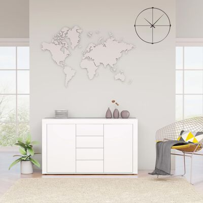 vidaXL Sideboard High Gloss White 120x36x69 cm Chipboard