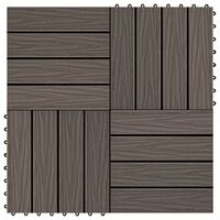 vidaXL 11 pcs Decking Tiles Deep Embossed WPC 30x30cm 1sqm Dark Brown
