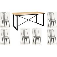 Upcycled Industrial 180cm Dining Table Set with 6 Metal Grey Chairs