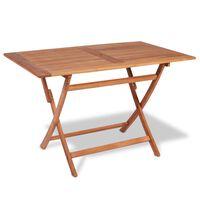 vidaXL Folding Garden Table 120x70x75 cm Solid Teak Wood