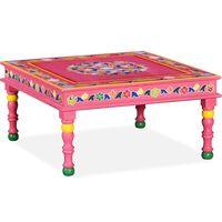 vidaXL Coffee Table Solid Mango Wood Pink Hand Painted