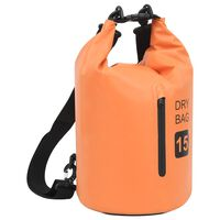 vidaXL Dry Bag with Zipper Orange 15 L PVC