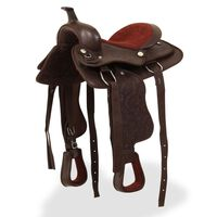 """vidaXL Western Saddle, Headstall&Breast Collar Real Leather 13"""" Brown"""