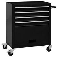 vidaXL Tool Trolley with 4 Drawers Steel Black