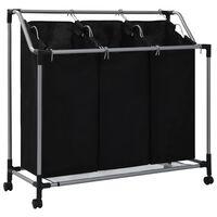 vidaXL Laundry Sorter with 3 Bags Black Steel