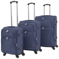 vidaXL 3 Piece Soft Case Trolley Set Navy Blue