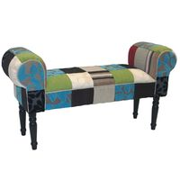 PLUSH PATCHWORK - Shabby Chic Chaise Pouffe Stool / Wood Legs