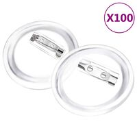 vidaXL Button Badges Kit with Pins 100 Sets Acrylic 37 mm