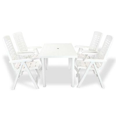 vidaXL 5 Piece Outdoor Dining Set Plastic White