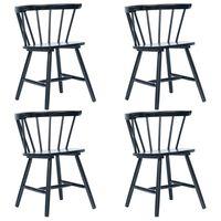 vidaXL Dining Chairs 4 pcs Black Solid Rubber Wood