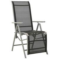 vidaXL Reclining Garden Chair Textilene and Aluminium Silver