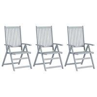 vidaXL Garden Reclining Chairs 3 pcs Grey Solid Acacia Wood