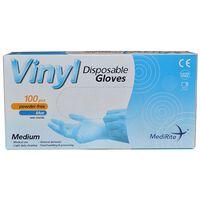 Vinyl Medium Latex Free Blue Disposable Gloves - 1x100