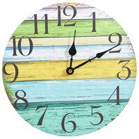 vidaXL Wall Clock Multicolour 30 cm MDF
