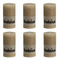 Bolsius Rustic Pillar Candles 6 pcs 130x68 mm Pastel Beige